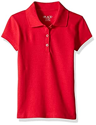 The Children's Place Big Girls' Uniform Short Sleeve Polo, Ruby 3378, L (10/12)