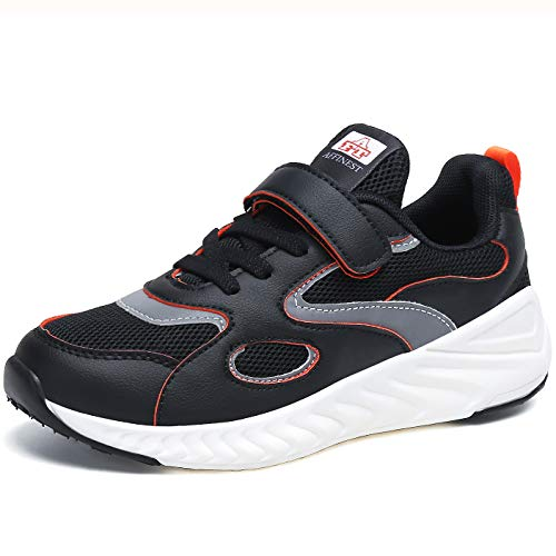 AFFINEST Turnschuhe Jungen Mädchen Sneaker Kinder Sportschuhe Leicht Atmungsaktiv Hallenschuhe mit Klettverschluss,Schwarz,35