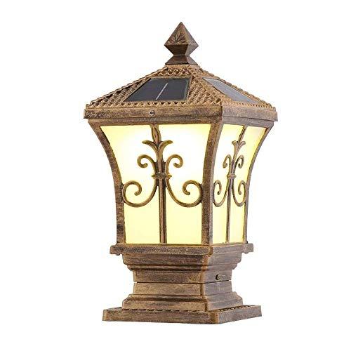 miwaimao Lámpara de poste, para decoración de jardín, jardín, luz solar para exteriores, impermeable, para valla, jardín, paisaje, luz de pilar superbrillante con mando a distancia (color negro)