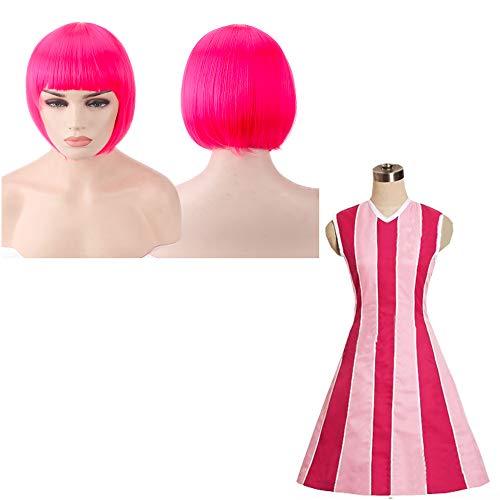 thematys Stephanie Lazy Town Kostüm + Perücke pink - Kleid für Damen - perfekt für Fasching, Karneval & Cosplay - 4 Verschiedene Größen (XL)