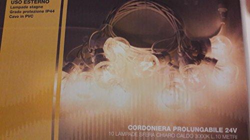NEW LAMPS CATENARIA 10 LAMPADINE LUCE CALDA 10 METRI PER ESTERNO 24V 55-941