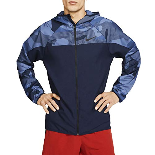 Nike Men's Flex Camo Zip Training Hoodie (S, Obsid/Blues)