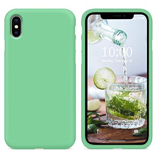"""SURPHY Cover iPhone XS, Cover iPhone X Silicone, Custodia iPhone X XS Silicone Slim Cover Antiurto con Morbida Microfibra Fodera, Protettiva Cover Case per iPhoneX XS 5.8"""", Verde Menta"""