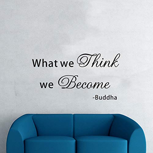 VODOE Buddha Wall Decal, Bedroom Wall Decal, Quotes Living Room Office Family Zen Yoga Buddhism Spiritual Indian Buddhist Meditation Home Art Decor Vinyl Sticker What We Think We Become Buddha 21'x11'