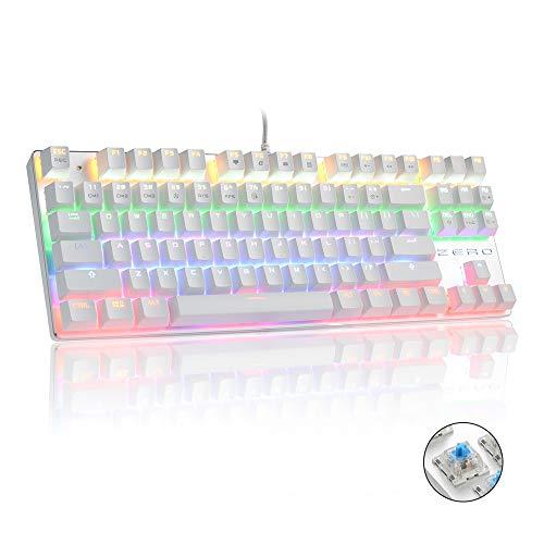 Mechanische Spieletastatur, HiveNets 87 Tasten Blaue Schalter Anti-Ghost RGB-Hintergrundbeleuchtung Speziell für Videospiele