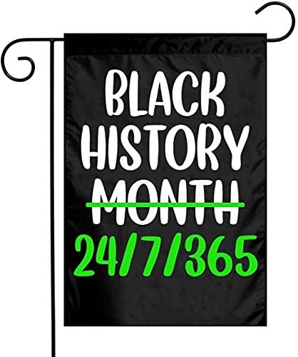 Banderas de doble cara del orgullo afroamericano del mes de la historia negra para decoración al aire libre del patio del jardín de 12 x 18 pulgadas.