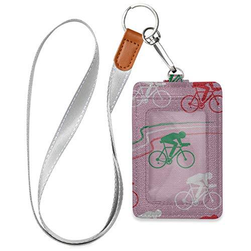 Inhaber eines Abzeichenetui Aufgeregter Kunstsportwettbewerb Fahrradkartenhalter für Ausweise mit 1 durchsichtigem Ausweisfenster, 2 Kartenschlitzen und einem abnehmbaren Halsriemen für Büroausweis,