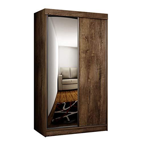 Mirjan24 Kleiderschrank Toplo 100 II, Elegantes Schlafzimmerschrank, Spiegel, 100 x 200 x 62 cm, Dielenschrank, Garderobenschrank, Schwebetürenschrank (Esche Dunkel, ohne Beleuchtung)