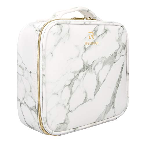 Relavel Marble Makeup Bag Makeup Organizer Bag Travel Train Case Portable Cosmetic Artist Storage Bag with Adjustable Dividers for Cosmetics Makeup Brushes (Marble Pattern)