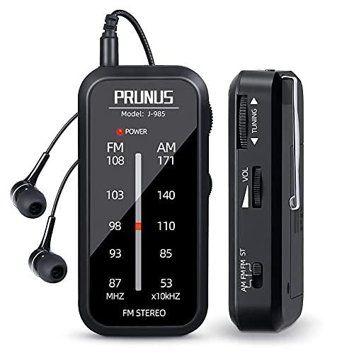 PRUNUS J-985 Transistores Radio de Bolsillo FM/Am, Radio Portatil Pequeña con Auriculares (con BBS y Modo Stereo) Mini Radio Funciona con 2 Pilas AAA, Clip Trasero, para Correr, Caminar y Viajar.
