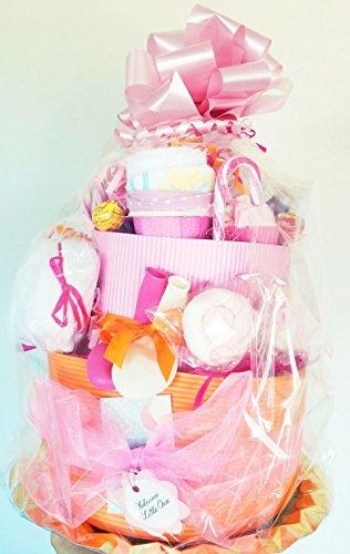 Gâteau de couches MAXI 2-pièces | Idéal pour les jumeaux / jumeaux ou pour un cadeau MAXI à un bébé! | Doté de: 40 couches DODOT, 2 SUAVINEX Soothers, 2 corps, 2 Bonnets, 2 Bavettes, 2 Paires de Chaussettes | Tout est 100% coton et deTalla 1-6 mois | Pink Tones, for Girls