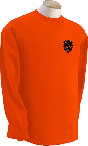 Dutch Holland Olanda Squadra Di Calcio Retro T-Shirt a maniche lunghe - Tutte Le Taglie Disponibili - cotone, Arancione, 100% cotone, Uomo, L