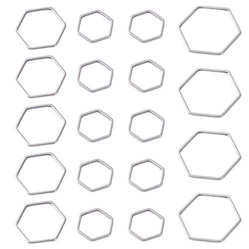 HEALLILY 30 Piezas de Biseles Abiertos Joyería de Plata Fabricación de Colgantes Hexagonales Encantos DIY Accesorio de Fabricación de Joyas