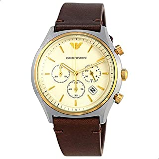 Emporio Armani Men's 'Zeta' Quartz Stainless Steel and Leather Casual Watch, Color:Brown (Model: AR11033)