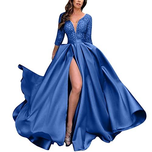 Onsoyours Damen Spitze Off Shoulder Plissee Kurzarm Schlitz Elegante Maxikleid Partykleid Abendkleid B Blau M