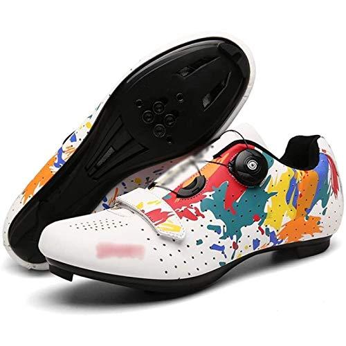 SONG Calzado de Ciclismo Tacos Calzado de Ciclismo MTB Calzado de Ciclismo para Hombre Calzado de Bloqueo de Carretera Calzado de Bicicleta de Carretera para Mujer Giratorio Transpirable,41