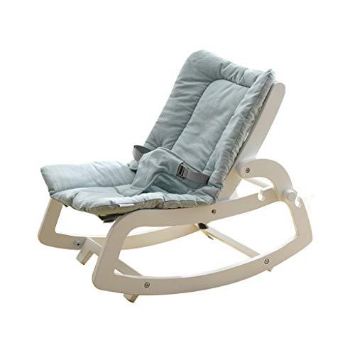 YANGXY schommelstoel, multifunctionele comfortabele schommelstoel, massief hout, kinderschommelstoel, 4 kleuren Wit Blauw
