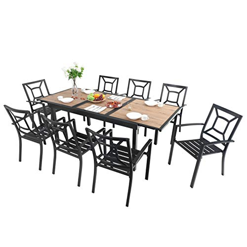 MFSTUDIO 9-Piece Metal Outdoor Patio Dining Set with 8 Wrought Iron Chairs and 1 Expandable Outdoor Dining Rectangle Table with Wood-Like Surface Top