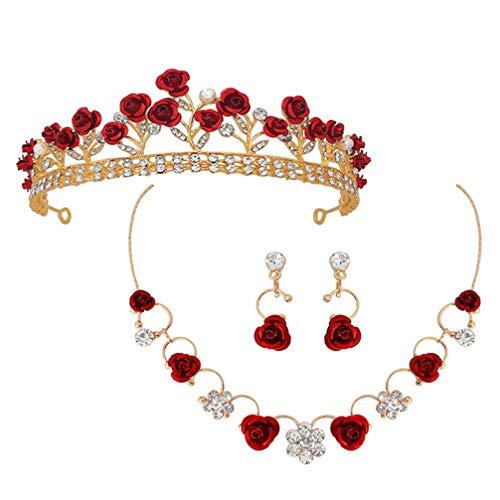 Minkissy Tiara de Cristal para Novia Rosa Flor de Reina Diademas para Boda Desfile de Cumpleaños para Fiesta de Cumpleaños con Pendiente de Collar para Mujeres Y Niñas