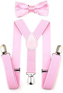Child Kids Suspenders Bowtie Set - Adjustable Suspender...