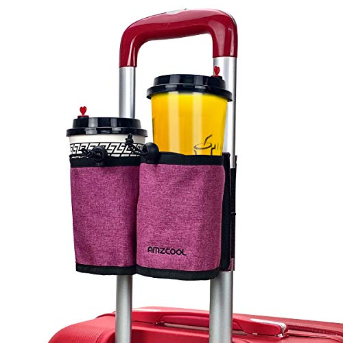 Luggage Travel Drink Bag Cup Holder Free Your Hand for Drink Beverages Caddy Coffee with Backpack Fits All Suitcase Handles (Pink)