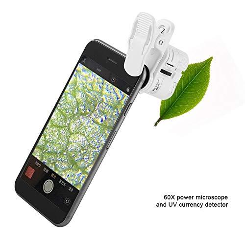 MAGT 60X Mini-microscoop voor mobiele telefoon, universeel, met led/uv-licht