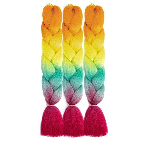 SONNET Synthetic Braiding Hair 3bundles/lot 300g Ombre Jumbo Braids Hair Extension Kanekalon Fiber for Box Twist Braiding with 10pcs Free Decoration Dreadlock Deads (Orange/Green/Purple Red)