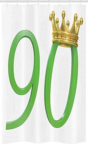 ABAKUHAUS 90ste Verjaardag Douchegordijn, Queen Crown 90, voor Douchecabine Stoffen Badkamer Decoratie Set met Ophangringen, 120 x 180 cm, Geel groen