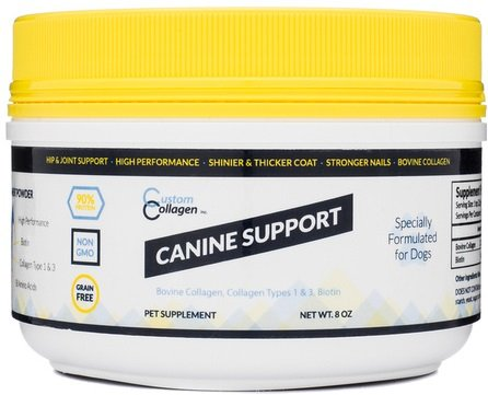 Joint Supplement for Dogs - Powder  Collagen Plus Biotin and Amino Acids for Canine Coat  Skin  Nail  Joint  Hip  and Digestion Support (8 Ounce Jar)