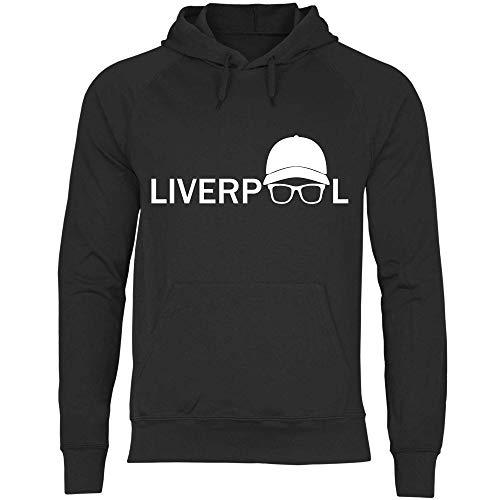 wowshirt Herren Hoodie Jurgen Klopp Brille Silhouette Liverpool, Größe:L, Farbe:Black