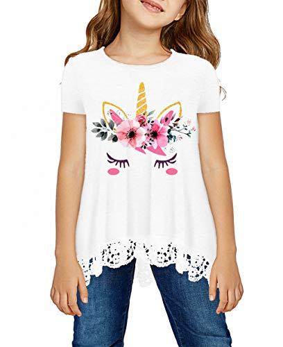 storeofbaby Girls White Tops Cute Flower Cat Print Tees Short Sleeve Blouse