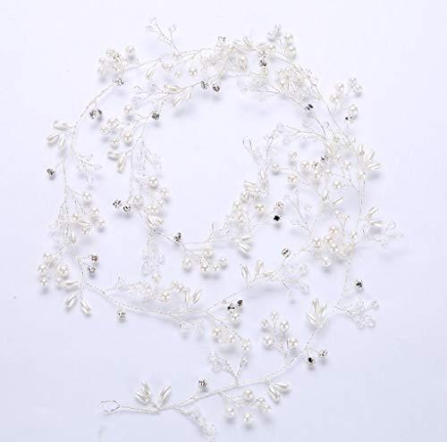 Star Bridal Vintage Crystal Pearl Vine Rubans Coiffure De Mariage Accessoires 1M/Gold/Silver/Rose Or,Silver