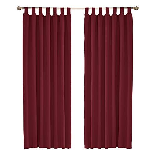 Amazon Brand – Umi Cortinas Salon Habitacion Opacas Aislantes Termicas con Trabillas 2 Piezas 140x245cm Rojo Oscuro