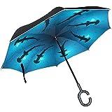 Jacque Dusk Paraguas-Paraguas Invertido Tiburones Martillo Festoneados UV Anti Viento Cortavientos Paraguas Plegables con Mango En Forma De C