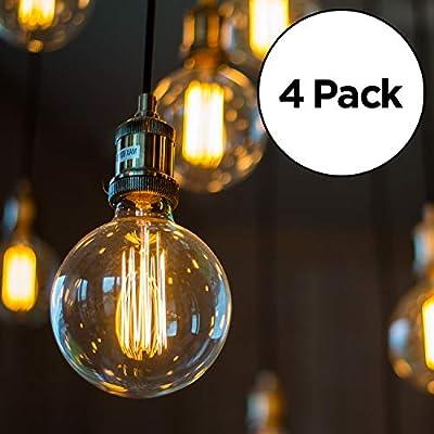 Edison Light Bulb | Antique Vintage Style Light | Amber Warm Incandescent | (4 Globe Bulbs)