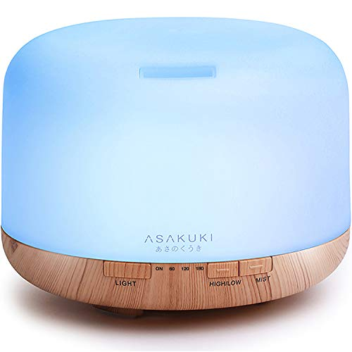 ASAKUKI 500ml Premium, Essential Oil Diffuser, 5 In 1 Ultrasonic Aromatherapy Fragrant Oil Humidifier Vaporizer, Timer and Auto-Off Safety Switch, 7 LED Light Col