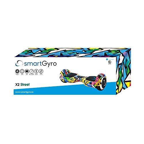 """SmartGyro X2 UL v.3.0 Street - Potente Patinete Eléctrico Hoverboard, Ruedas de 6.5"""" Antipinchazos, Batería de Litio 4400 mAh, Velocidad Máxima 12 Km/h, Certificado UL, Color Street"""