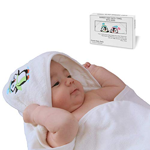 Crystal Baby Smile Toalla de Baño de Bambú con Capucha para Bebés Recién Nacidos o Niñitos - Calidad Superior, Suave y Súper Absorbente -90x90cm - Color Unisex - Regalo para el Bautizo o Baby Shower