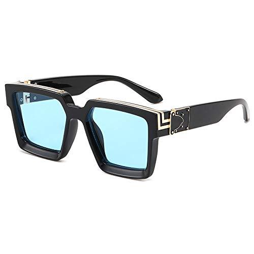 hqpaper Gafas de sol de montura cuadrada europeas y americanas, gafas de sol punk para mujer, como se muestra en la imagen, película azul con montura negra brillante