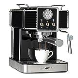 Klarstein Gusto Classico - Cafetera de espresso, Potencia 1350 W, Presión bomba 20 bar, Depósito agua 1,5 L, Boquilla de espumado de leche, Barómetro, Filtro de aluminio para cápsulas de café, Negro
