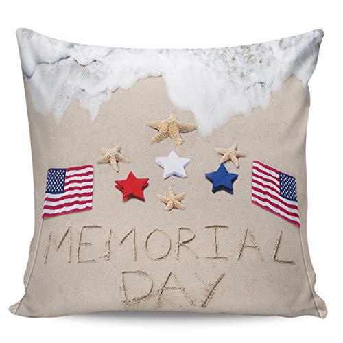 Fundas de almohada de 60,96 x 60,96 cm, diseño de bandera americana y estrellas de mar en la playa, funda de cojín cuadrada para decoración del hogar