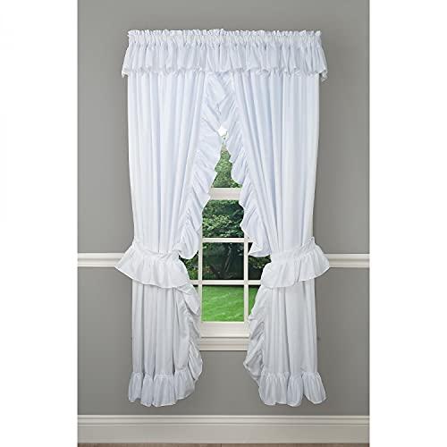 "Priscilla Classic Rod Pocket Curtain Panel Pair (White, 84"" W x 84"" L)"