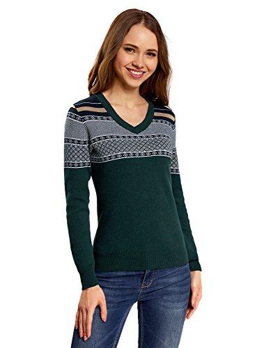 oodji Ultra Damen Pullover mit V-Ausschnitt und Jacquard-Muster auf den Schultern, Grün, DE 32 / EU 34 / XXS