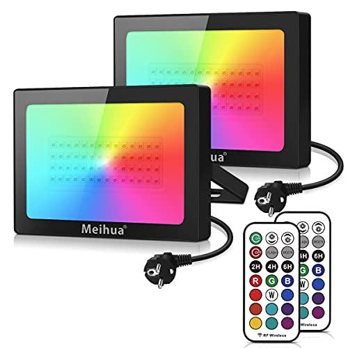Foco RGB Led 60W, MEIHUA Foco 12 Colores 2 Modos con Control...