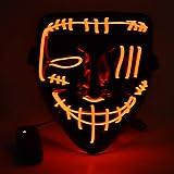 Mascara de Halloween, Led Mascaras 3 Modos de Lluminación sin Bateria, Adultos LED Mask para Fiestas de Disfraces, Navidad, Carnavales, Cosplay (Rojo)
