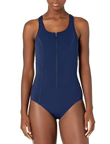 Amoena Women's Key West One Piece Pocketed Mastectomy Swimwear, Dark Navy, 14D
