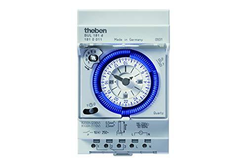 Theben 1810011 SUL 181d - analoge Zeitschaltuhr mit Tagesprogramm und 200 Stunden Gangreserve, Zeitschalter