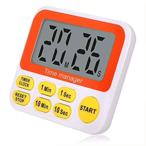 Wimaha Time Timer Digitaler Küchentimer mit Uhr, Kochtimer mit Weckalarm, Magnetrückseite, große Ziffern, schneller Einstellbarer Countdown-Timer für Küche, Hausaufgaben, Sport, Spiel