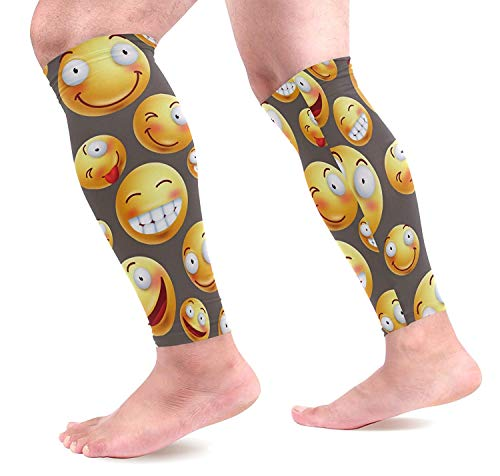 Happy Facial Expressions Yellow Smileys Sports Calf Support Sleeves for Muscle Pain Relief, Improved Circulation Compression Effective Support for Running, Jogging,Workout(1 Pair) dsafatfarewgj4160