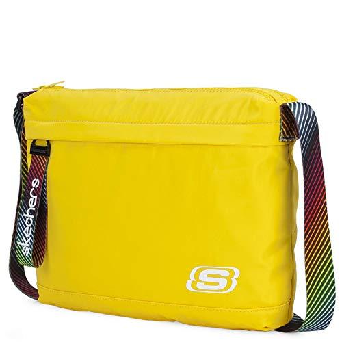 SKECHERS - Bandolera Unisex pequeña de Nylon. Casual, Funcional y práctica con Doble Compartimento y Bolsillos Interiores y Delantero S897, Color Limón Cromo